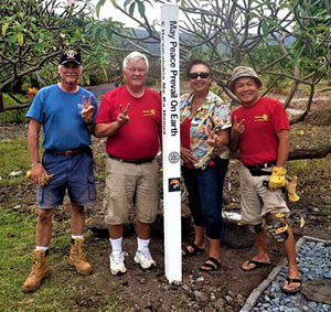 Kona Sunrise installs a peace pole