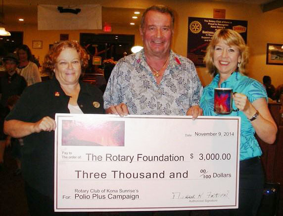 Rotary Club of Kona Sunrise raised $3,000 for the Rotary Foundation Polio Plus project.